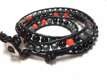 Harley Davidson-inspired Triple-Wrap Leather Beaded Bracelet