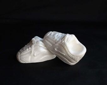 Shoe cake topper basketball baby shower cake topper baby boy white fondant rubber shoes edible bridal sneakers cake topper InscribingLives