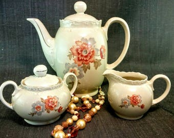 Large Teapot Set | Vintage Bavarian China  Eight Cup Teapot, Bavarian Cream and Sugar, Vintage Tea Pot,  1940's Autumn Teapot