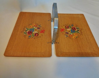 """HASKO Wood """"Tuck-A-Way'' Tray  Made by Haskelite Mfg. Corp. in Grand Rapids Michigan"""