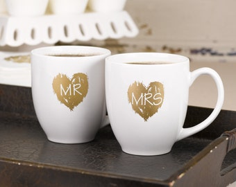 Mr And Mrs Coffee Cups, White Beverage Mugs With Brush Of Love Metallic Gold Silk Screen Ink Heart Design.