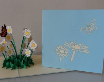Daisy and Butterfly Pop up Card Birthday- Get Well- Anniversary- Love- Retirement- Blank (sku041)