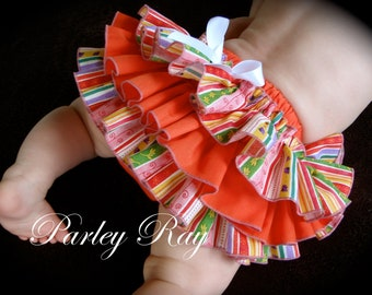 Beautiful Parley Ray Orange Blossom Baby Girls Ruffled Baby Bloomers/ Diaper Cover / Photo Props