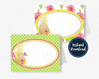 Luau Food Labels, Pineapple Place Cards, Printable Party Decorations, Pineapple Party Decorations INSTANT DOWNLOAD