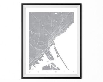Duluth Map Art Print / Duluth City Poster / Duluth Wall Art / Minnesota/ Gift / Minnesota home decor