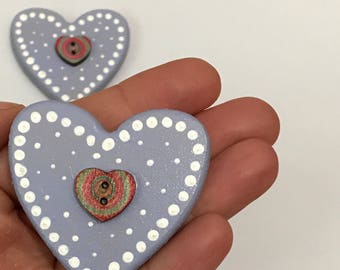 Set of 2 hand painted chunky heart magnets. Free UK delivery