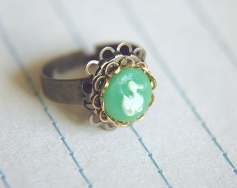 Victorian Inspired Cameo Ring Vintage White Duck Adjustable Band - Mr. Peking.