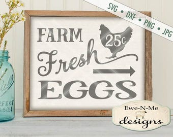 Fresh Eggs SVG - kitchen svg - farmhouse svg - farm eggs chicken svg  - Farm Fresh Eggs - Commercial Use svg cut file -  svg, dxf, png, jpg
