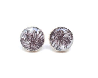 floral stud earrings  wood studs post earrings pink earrings wood earrings starlight woods