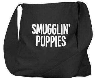 Smugglin Puppies Black Organic Cotton Slouch Bag