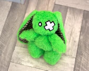 "Emo-Bunny ""Nevin"" // Rabbit Plush Toy // Neon Green // Spring"