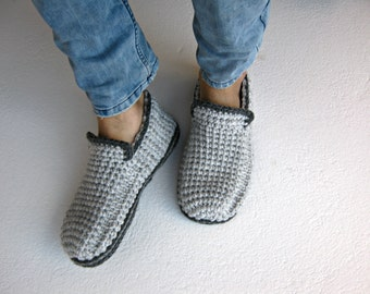 Crochet Men Slippers With Felt Soles, Gray Loafer Slippers, Mens House Shoes, Crochet Boots, Wool Slippers, Gift For Men, Mens Moccasins