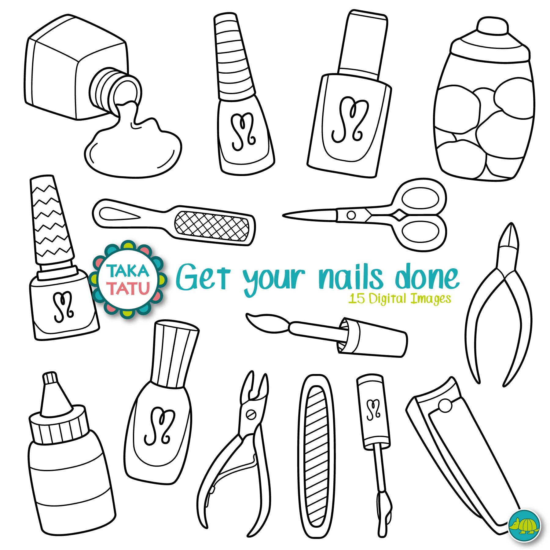 Pedicure Clipart: Manicure Digital Stamp Pack Manicure Clip Art / Pedicure