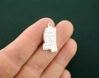 10 Mississippi Charms Antique Silver Tone State Charm - SC3432