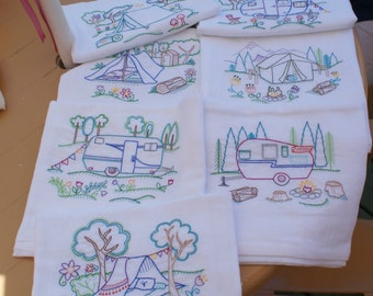 Happy Camper Dish Towels (Set of 7) - Made to Order