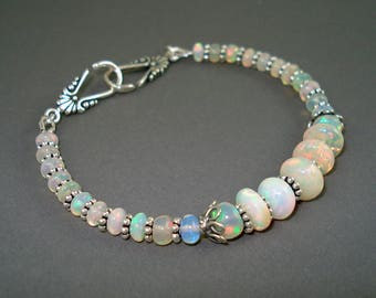 Opal Bracelet, Large Colorful Opals, Ethiopian Fire Opals and Oxidized Sterling Silver Bracelet, Fire Opal Jewelry