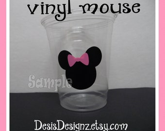 24  Girl Birthday Mouse vinyl decals Boy baby shower decorations sprinkle party vinyl cup stickers vinyl stickersParty cup decals vynil