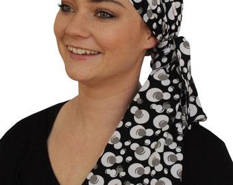 Jessica Pre-Tied Head Scarf, Women's Cancer Headwear, Chemo Scarf, Alopecia Hat, Head Wrap, Head Cover for Hair Loss - Black, White Pearls