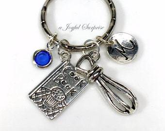 Gift for Chef Keychain, Cooking Keyring, Silver Cookbook Charm Key Chain, Whisk Line Cook Restaurant Owner  Baker Pastry Chef Mom Dad Aunt