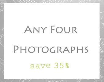 Print Set of 4 // Your Choice // Four Photography Prints // Set of Four Prints // Custom Set