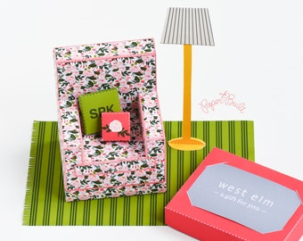 Floral Armchair Box - Gift Card Holder, Favor Box, Treat Box, Housewarming Gift, Shower Gift, Wedding Gift - Printable PDF INSTANT DOWNLOAD