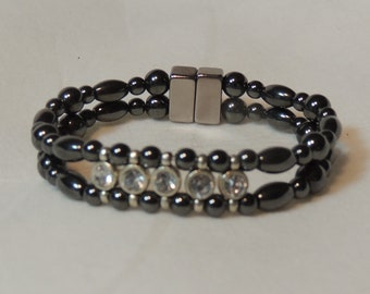 Crystal Face in Natural Magnetic Hematite Double Bracelet