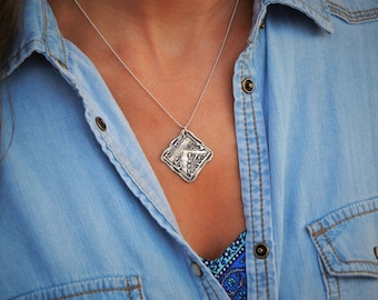Silver Monogram Necklace, Monogram Necklace Gift, Sterling Silver Monogrammed Necklace Gift Idea, Initial Jewelry, Silver Monogram Jewelry