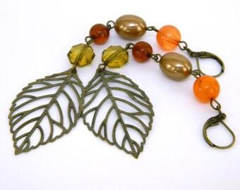 Dangle Earrings for Women Long Earrings Gift for Women Statement Earrings for a Gift Boho Earrings Beaded Earrings Leaf Earrings