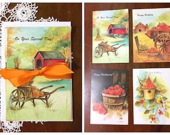 Vintage Birthday Cards and Envelopes Fall Theme Illustrations 1980s Unused Greeting Set of 4