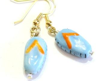 Blue Flip Flop Lampwork Glass Bead Earring - Womens Jewelry - Summer fun Earrings - Beach Goer Jewelry