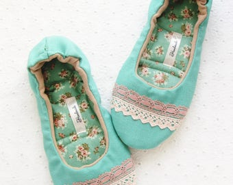 Women Slippers, Cotton slippers, Rustic Slippers, Handmade Slippers, Ballet Slippers, country style, House shoes, Ladies Slippers
