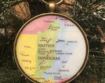 BELIZE Map Christmas Ornament, Keep a memory Alive / HONEYMOON Gift / Wedding Map Gift / Travel Tree Ornament / Corporate gift