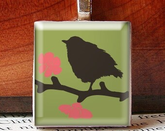 Scrabble Tile Pendant, BIRD On A BRANCH, Black with Green Background and Pink Flowers, No. 503 by Smash Gardens on Etsy