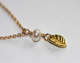 22k gold tiny leaf with tiny freshwater pearl necklace