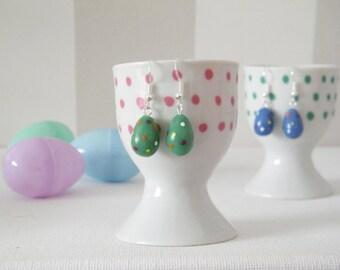 Easter Egg Earrings - Polymer Clay Easter Egg Dangle Earrings, Easter Earrings, Easter Gift, Gift for Her