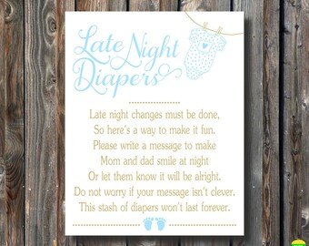 PRINTABLE Late Night Diapers Sign-Printable Baby Shower Sign-Baby Shower Game Sign-Diapers Thoughts-Baby Boy Baby Shower-Instant Download