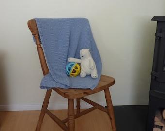 CRIB / COT/ stroller blanket . Luxury cashmere blend. Boy. Blue  . Knitted . 'Little Boy Blue' ...UK seller....ready to ship ...