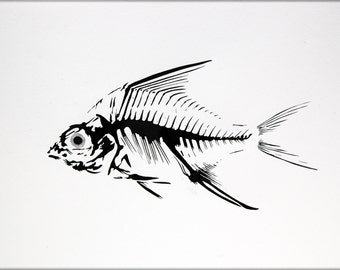 Original Watercolor Painting, 12.6 inches x 9.4 inches, Fish Skeleton, 20092013048mFSFSSW