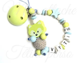 """personalized pacifier clip wood beads ~ lime green Fox """"Vytis"""" model"""