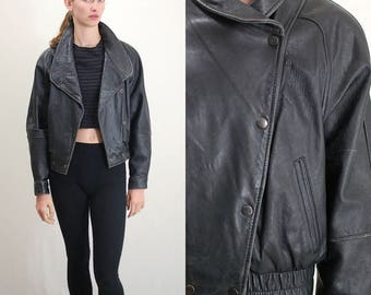 Vintage Jacket / 80s Leather Jacket / Leather Jacket / Moto Jacket / Motorcycle Jacket / Racer Jacket / Crop Leather Jacket / Small Medium