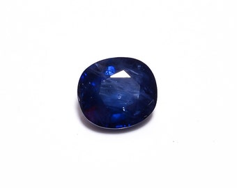 1 Piece Lot Natural Sapphire Faceted Loose Gemstones, 7.5x8.5mm Oval Shape 2.40 Carats Blue Sapphire Stones Cabs