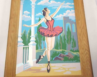 Vintage Paint By Number or PBN with Pretty Ballerina Dancing Ballet Dancer Framed
