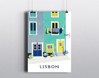 Lisbon Print / Lisbon Poster / House Print / Gift For Travelers / Travel Gift / Retro Travel Art Print / Lisbon Gift / Portugal Wall Art