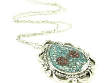Orgone Energy Ornate Teardrop Reversible Pendant Necklace - Orgone Energy Jewelry - Turquoise Gemstone Necklace - Artisan Jewelry