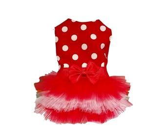 Dog Tutu Dress, Red and White Polka Dots