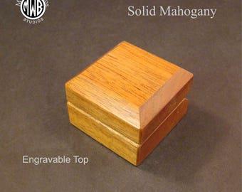 Engagement Ring Box, Solid Mahogany. Free Shipping and Engraving. RB-98