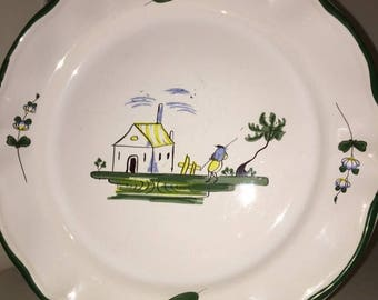"""Dinner plate in the """"Cabanon"""" pattern made in France by Varages. (One more available)"""
