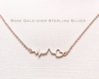 Rose Gold over Sterling Silver heartbeat necklace, heartbeat necklace, EKG necklace, ECG necklace, medical gifts, nurse necklace, nurse gift