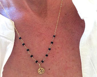 """Fine necklace trend and precious stones, spinel and vermeil dollar gold 18 k: """"Ally"""" model"""