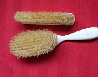French Ivory Celluloid and Bristle Hair and Clothes Brush Set 1930s